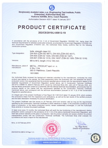 The bolts certificates for engineering and building industry